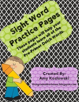 Sight Word Practice Pages: Pre-Primer Dolch Words