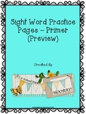 Sight Word Practice Pages - Primer Sight Words #spedgivesthanks