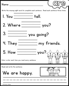 FREE Sight Word Practice Pages - Read and Write