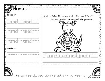 Sight Word Practice Pages: Reading Wonders