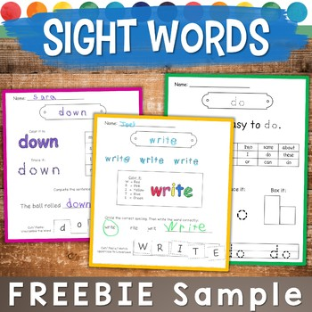 Sight Word Practice Pages FREE SAMPLE: Spell, Trace, Build, & More!