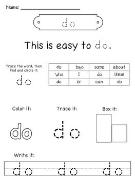 Sight Word Practice Pages FREE