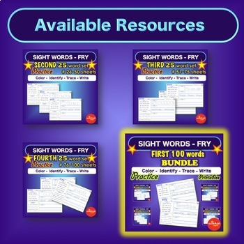 Sight Word Practice Pages - SECOND 25 words - Literacy Center Activities - Fry