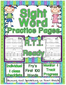Sight Word Practice Pages and RTI-NO PREP