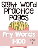 Sight Word Practice Pages for Fry Words 1-100