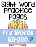 Sight Word Practice Pages for Fry Words 101-200