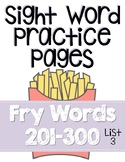 Sight Word Practice Pages for Fry Words 201-300