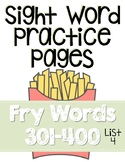 Sight Word Practice Pages for Fry Words 301-400