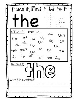 Sight Word Practice Pages for SIPPS