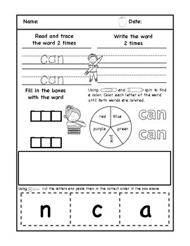 Sight Word Practice-Part 2