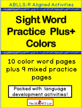 Special Ed Sight Word Practice Plus+ Colors