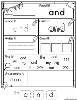 Sight Word Practice (Pre-Primer)