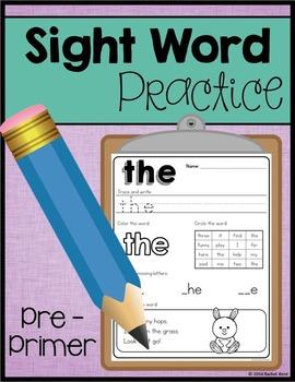 Sight Word Practice - Pre-Primer