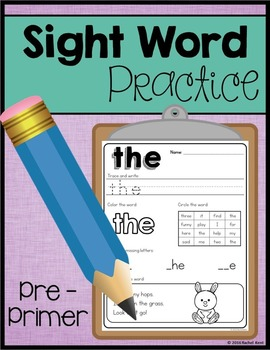 Sight Word Practice - Pre-Primer