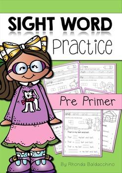 Sight Word Practice ~ Pre Primer Words