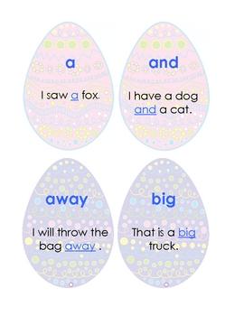 Sight Word Practice Pre-primer: Easter Eggs