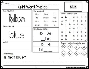 Sight Word Practice:  Preprimer