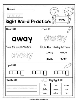 Sight Word Practice Preprimer - Sight Word Worksheets and Activities