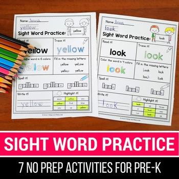 Sight Word Practice Preprimer - Sight Word Worksheets