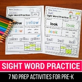Sight Word Practice Preprimer - Sight Word Worksheets