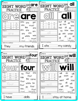Sight Word Practice (Primer)