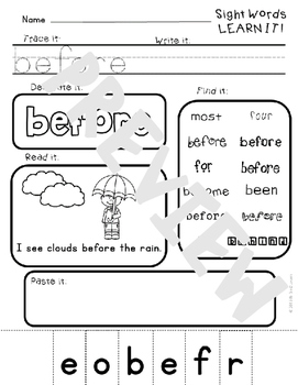 Sight Word Practice Printables- 100 sight words Fountas and Pinnell