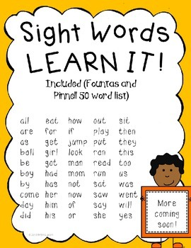 Sight Word Practice Printables- 50 sight words Fountas and Pinnell
