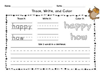 Sight Word Practice Rainbow List