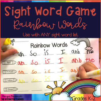 Sight Word Practice: Rainbow Words