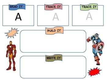 Sight Word Practice- Read, Build, Write (male theme)