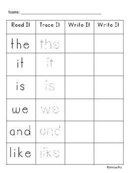 Sight Word Practice - Read, Trace, and Write