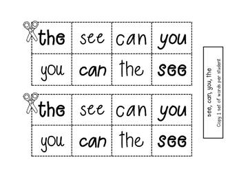 Sight Word Practice - Rebus Sentences