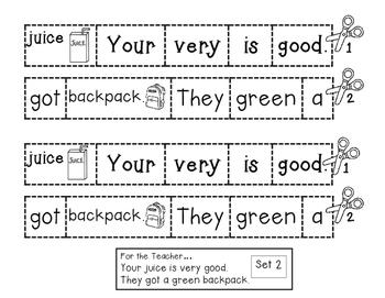 Sight Word Practice - Rebus Sentences TOO