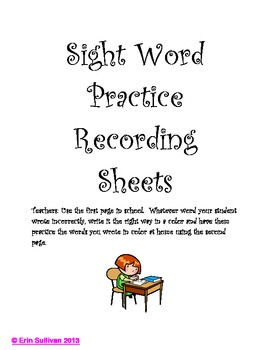 Sight Word Practice Recording Sheets