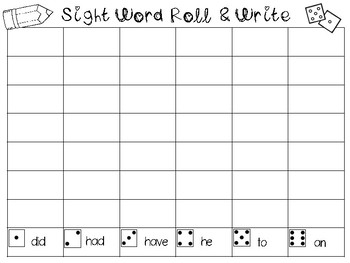 Sight Word Practice Roll and Write