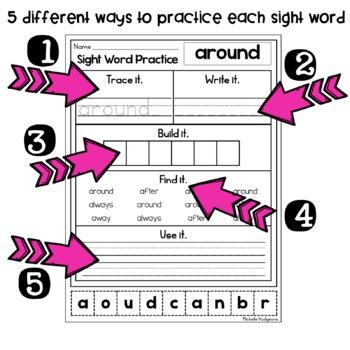 Sight Word Practice SECOND (Trace it. Write it. Build it. Find it. Use it.)