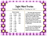 Sight Word Practice Sheet - Read, Find, Write, and Stamp Words