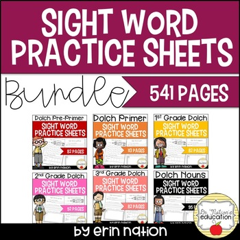 Sight Word Practice Sheets Bundle {for 223 Dolch words & 95 nouns}
