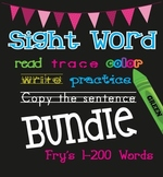 Sight Word Practice Sheets {Read, Trace, Color, Copy, & Write} - Fry BUNDLE 1