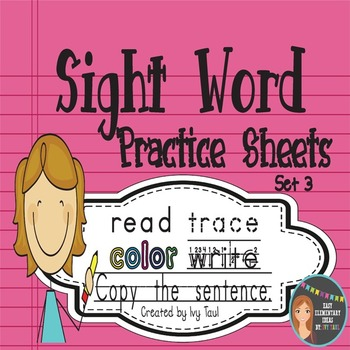 Sight Word Practice Sheets {Read, Trace, Color, Copy, & Write} - Fry Set 3
