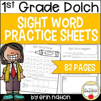 Sight Word Practice Sheets {for Dolch 1st Grade words}