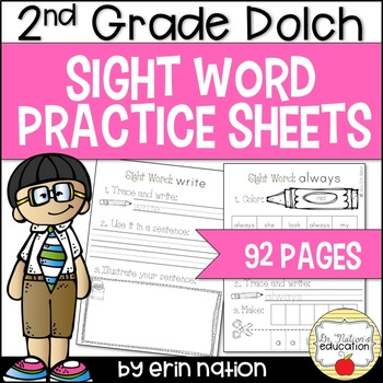 Sight Word Practice Sheets {for Dolch 2nd Grade words}