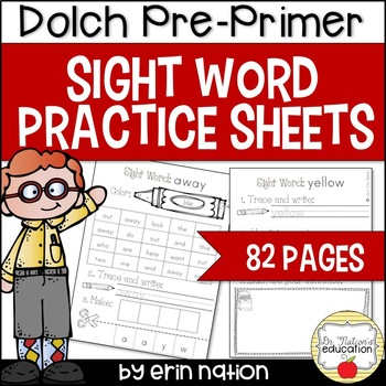 Sight Word Practice Sheets {for Dolch Pre-Primer words}