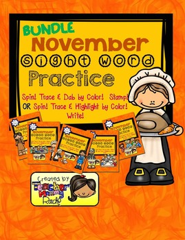 Sight Word Practice - Spin! Trace & Dab by Color! Stamp! (Bundle)