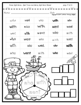 Sight Word Practice - Spin! Trace & Dab by Color! Stamp! (Primer)