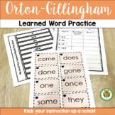 Orton-Gillingham Red Words, Learned Words, Sight Words