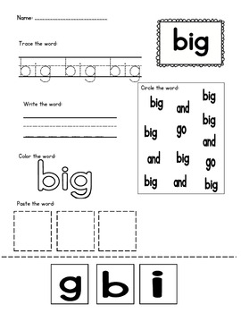 Sight Word Practice- Super pack!