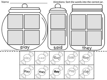 Sight Word Practice : Sweet Tooth High Frequency Words