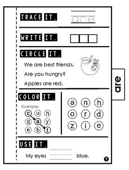 Sight Word Practice | Dolch Primer 1 | Tab Book