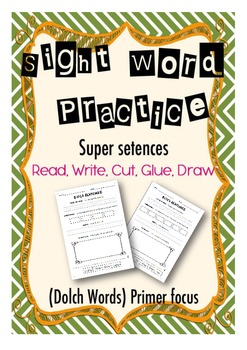 Sight Word Practice- Trace, Build, Write, Draw- Primer Focus